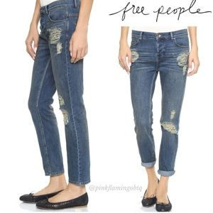 Free People Distressed Low Rise Boyfriends Jeans